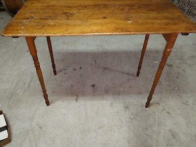 Antique Primitive Wood  Folding Sewing Table Desk With Ruler PARIS MFG CO