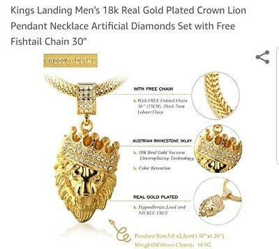 74ca2306325b7 Halukakah Kings Landing Men s 18k Real Gold Plated Crown Lion Pendant  Necklace