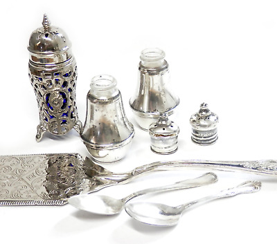 Job Lot Sterling Silver & Silverplate Items Cobalt Shakers Spoons Flat Server