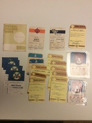 BSA Boy Scouts Used Pocket Card Lot, Certificates, Bear, Patrol Record Book