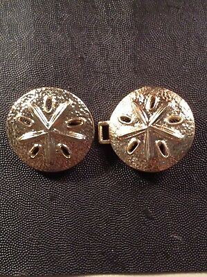 Vintage Unsigned Gold Tone Two Piece Sand Dollar Belt Buckle. Ladies