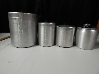 Vintage Aluminum Canister 4 piece set Sugar Tea Grease black knobs Nesting