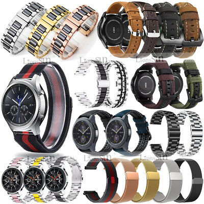 for Samsung Watch 46mm/Gear S3/Sport/S2 Classic Stainless Milanese/Leather Band
