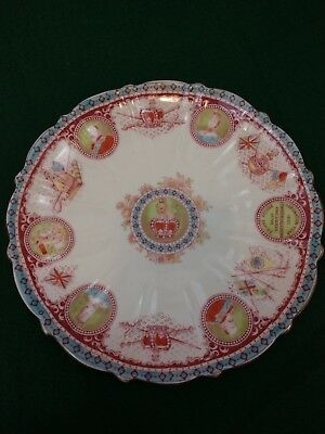 Antique Blairs coronation plate Edward Alexandra king queen fluted hand painted