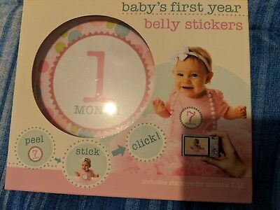 New Stepping Stones Baby's First Year 12 Milestone Monthly Belly Stickers Girl