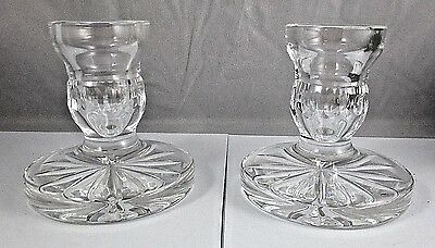 "WATERFORD Crystal PAIR OF Candle Sticks 3-1/2"" Tall Acid Etched NO Damage"