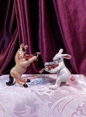 Vintage Rare Porcelain Horse and Hare Musician Figurines (Set of 2) EUC