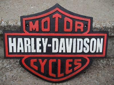 Cast Iron Harley Davidson Motorcycles Sign Hog Dealer Store Sign