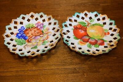Thames japan Hand Painted Hanging Wall Plate Set Of 2 Fruit