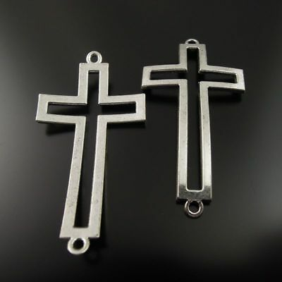 20pcs Pack Retro Silver Metal Alloy Hollow Rosary Cross Crucifix Pendant Charms