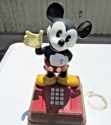 VINTAGE 1970's Mickey Mouse Push Button Telephone Model TEIF 8000 UNTESTED
