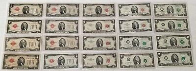 1928B in Complete 20 pc $2 set 1928 thru 2013 Key dates two dollar Notes lot #5