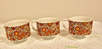 Vtg Lot Of 3 Footed Mid Century Mod Mugs Made In Japan Floral orange red yellow