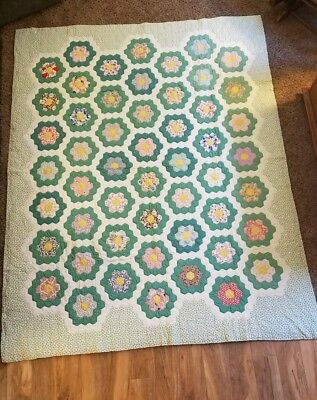 Antique Hand Stitched Patchwork Quilt in Flower Garden Pattern