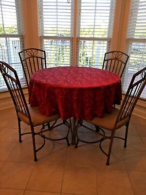 5 piece DINING table SET 4 padded chairs, round Wood w/ metal legs, LOCAL PICKUP