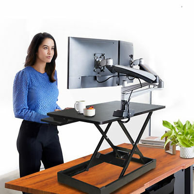 Height Adjustable Sit Stand Desk Riser Laptop Holder Stand with Keyboard Tray
