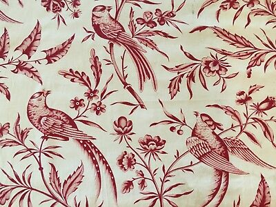 Antique French Fabric Indienne Red and Ivory Floral Birds