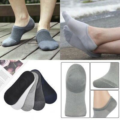 5Pairs Mens Invisible No Show Nonslip Loafer Boat Ankle Low Cut Bamboo Socks
