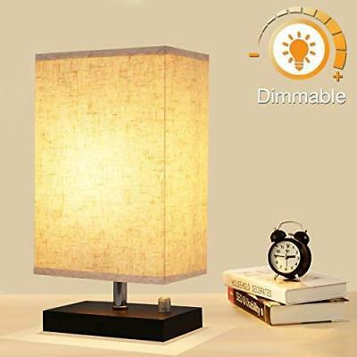 Dimmable Bedside Lamp, KingSo Solid Wooden Base Plug In Table Lamp With Dimmer