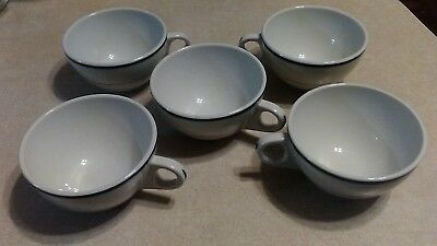 VTG Shenango Coffee Cups Green Stripe/ Set of 5 (Really Nice Set)With Indian Pic
