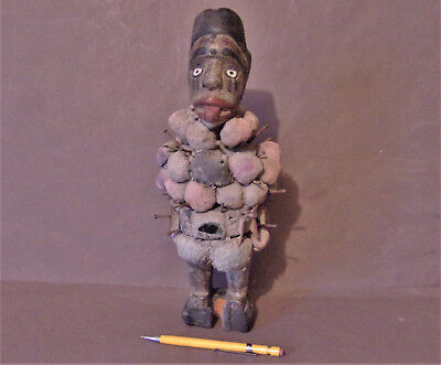 African Nail Fetish Idol or Nkondi, Congo, Early to Mid 1900's