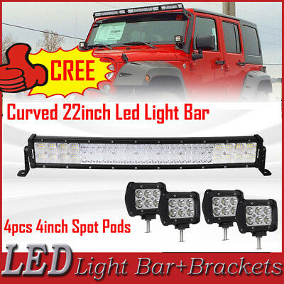 """4/"""" 18W Pods Combo Kit Offroad Driving Light 20//22/"""" 30//32/"""" Curved Led Light Bar"""