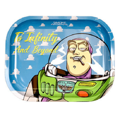 Smoke Arsenal INFINITY AND BEYOND Cigarette Tobacco Metal Small Rolling Tray 7x5