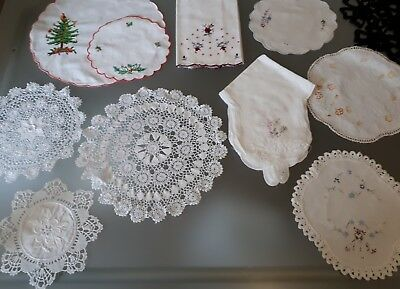 Beautiful Bulk Lot Vintage Embroidered Doilies,scone Warmer,guest Towel