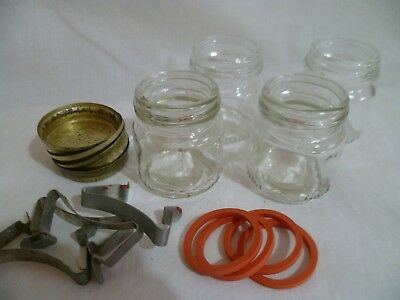 Fowlers Vacola Preserving 4X Jars Size #3 RARE Small Lids Rings Clips