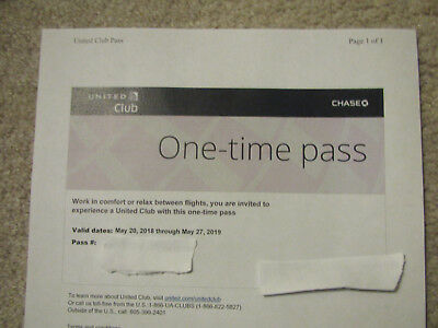 Two (2) United Club Lounge One Time Passes EXPIRES 5/27/2019