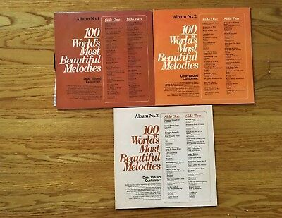 Lot of Three Vintage Reader's Digest 100 World's Most Beautiful Melodies Vinyl