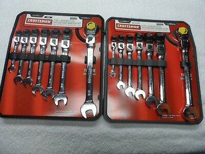 Craftsman SAE & MM Locking Head Flex Ratcheting Wrench Set - Part # 42400/42401
