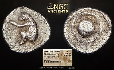 Thraco-Macedonian Silver Greek Primate Ancient Coin, 5th Century, B.C., NGC 5/5.