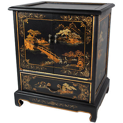 Oriental Furniture Hand-Painted Japanese End Table