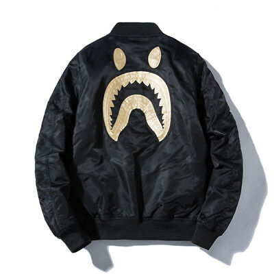 4943e59187b6 Bape A Bathing Ape Embroidery Shark Head Candy Camo Flight Bomber Jacket  Coat Men s Clothing
