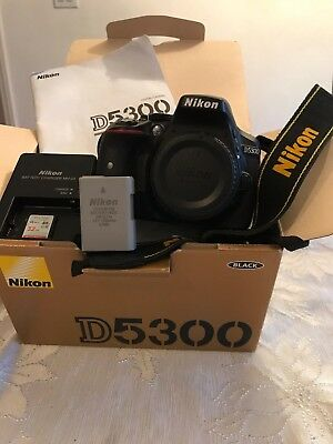Nikon D5300 24.2MP Digital SLR Camera - Black (Body Only) Plus 32GB Card