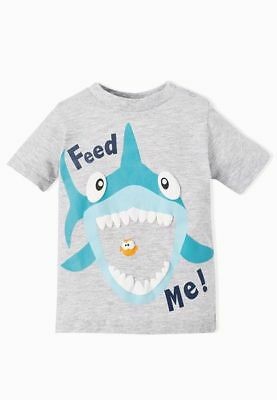 BOYS MINOTI T SHIRTS Shark - Feed Me! in Grey  6-12 Months