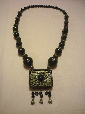 Antique Vintage Sterling Silver Plated Tribal Bedouin Prayer Box Necklace