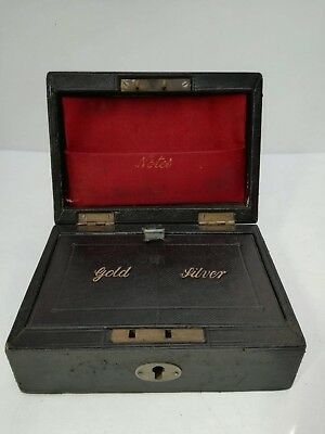 Victorian Antique Leather and Velvet Gold & Silver Jewellery / Money Trunk Case