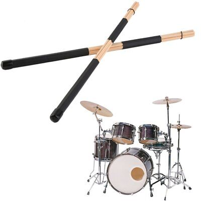 1 Pair Wooden Rods Rute Jazz Drum Sticks Drumsticks 40cm With Rubber Handle A9