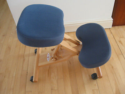 Putnams back/ coccyx posture wood kneeling chair blue fabric covered pads