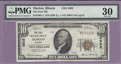 1929 $10 Fr# 1801-1 Marion, Illinois  CH# 4502  PMG **SCROLL DOWN FOR SCANS**
