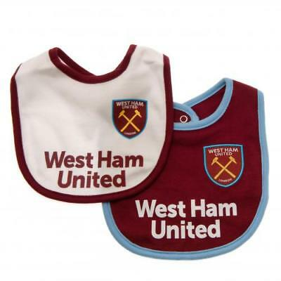 Official Licensed Football Product West Ham United 2 Pack Bibs Baby Gift New