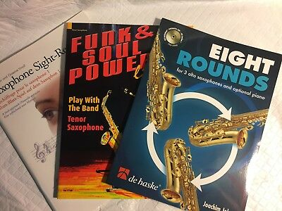 Saxophone Music Books (3), New, with CDs, Teaching and 2 Song Books. Solo/ Trio