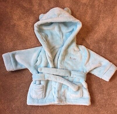 """NEW Boys """"OLIVER"""" Blue Dressing Gown 0-6 Months"""