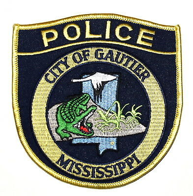 GAUTIER MISSISSIPPI MS Sheriff Police Patch ALLIGATOR CRANE STATE SHAPE OUTLINE
