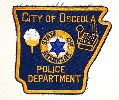 OSCEOLA ARKANSAS AR Sheriff Police Patch – STATE SHAPE – STAR COTTON BOLL ~
