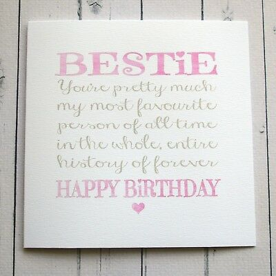 Birthday Card BEST FRIEND CARD BESTIE Friend Handmade BIRTHDAY For A
