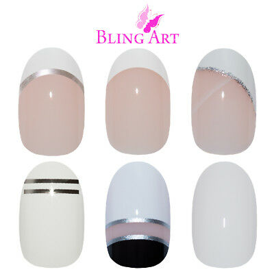 Bling Art Oval False Nails White Fake French Manicure Glitter Medium Tips Glue