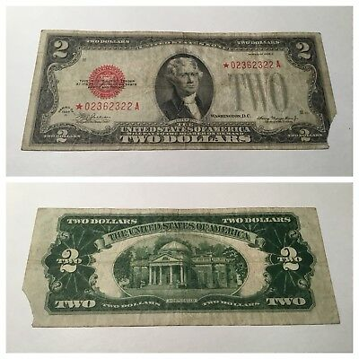 VINTAGE star $2 1928-D UNITED STATES NOTE RED SEAL JEFFERSON TWO DOLLAR BILL USN
